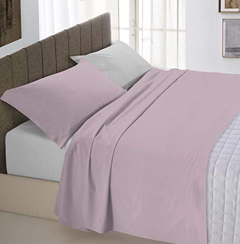 Italian Bed Linen Natural Color Completo Letto Double Face, 100% Cotone, Rosa Antico/Grigio Chiaro, Singolo