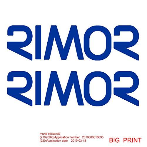 2 Adesivi RIMOR Colore Blu - 58X16 Centimetri - Logo Camper - RIMOR - Accessori per Camper Adesivi per Camper