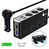 Quick Charge 3.0 Cigarette Lighter Splitter, Qidoe 12V/24V 3-Socket 120W DC Power Car Splitter with LED Voltmeter Power Switch, 8.5A 4 USB Fast Outlets for GPS, Dash Cam, Sat Nav, Phone, iPad, Tablet