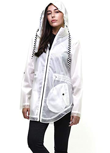 Members Only Women's Yatch Long Lightweight Jacket with Zipper Closure - White M