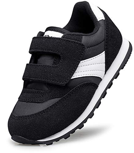 RIBONGZ Wide Toddler Boys Shoes Slip On Little/Baby Girls Velcro Sneakers for Athletic Walking Running Outdoor/Indoor Black/White Size 6