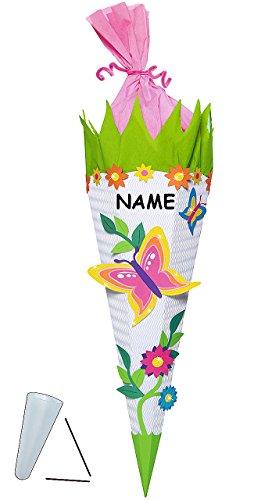Unbekannt BASTELSET Schultüte - Schmetterling Blumen - 85 cm - incl. Namen - mit / ohne Kunststoff Spitze - Zuckertüte zum selber Basteln - 6 eckig Blumenranke Mädc..
