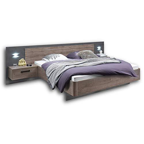 PALMA Stilvolle Doppelbett Bettanlage 180 x 200 cm mit 2x Nachtkommoden - Schlafzimmer Komplett-Set in Haveleiche-Optik, Betonoxid - 317 x 92 x 207 cm (B/H/T)