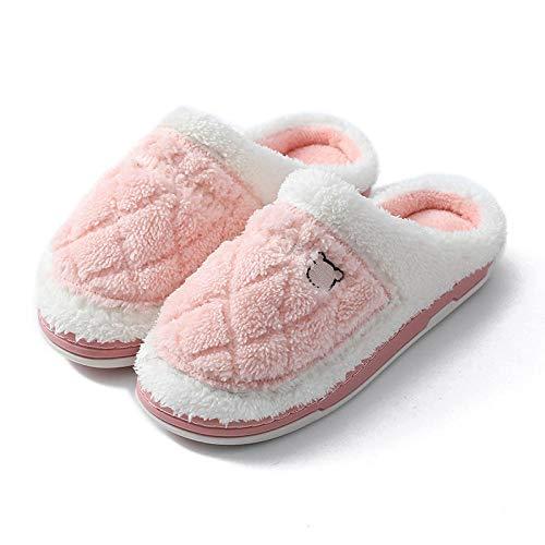 Hombres y Damas Caliente Zapatillas de Espuma de Memoria ,Zapatillas de pareja de invierno de suela gruesa para mujer, zapatillas de algodón resistentes interiores para hombres, rosa EU 39-40