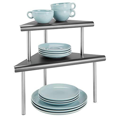 mDesign Estantería esquinera con 2 niveles – Baldas de cocina para rincones de encimeras e interiores de armarios – Estantes de metal y acero con dos alturas para la cocina – gris y plateado mate