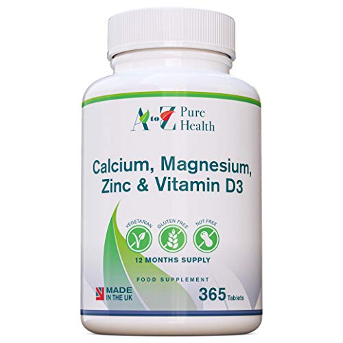 Calcium, Magnesium, Zinc & Vitamin D Supplement | Premium Multi-Vitamin Supplement |365 Easy to Swallow Capsules (1 Year Supply) | Multimineral with Calcium Immune Booster | Osteo Supplement | UK Made