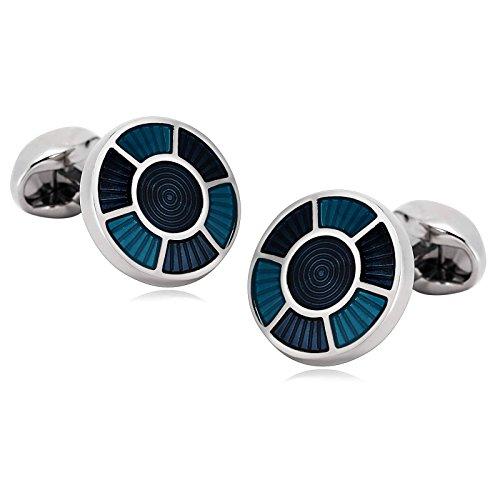 Blisfille 2 Pieza Gemelos de Acero Gemelos Camisa Negro Gemelos Camisa Hombre Divertidos Joyas para Parejas Gemelos de Azul