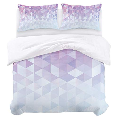 Bettbezug-Set, 3-teiliger, ultraweicher, leichter Bettbezug aus Mikrofaser-Bettdecke mit Reißverschluss, Krawatten - geometrisches Farbverlaufsmuster...