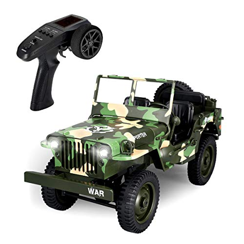 RC Cars for Adults, EACHINE EC01 Off-Road Car RC Military Truck Jeep 1:10 2.4G 4WD 15KM/ H Camouflage Military Truck High Speed Drift Racing Car Hobby Car Gifts for Boys 5-15 Year Olds