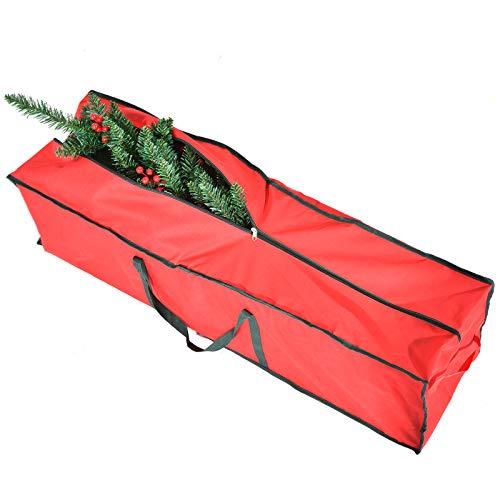 CHORTAU Bolsa de almacenamiento para árboles de Navidad (43 'x 12' x 12 '), para árboles de hasta 7.5 pies de tela Oxford, Bolsa de almacenamiento duradera para Navidad con asas de transporte, Rojo