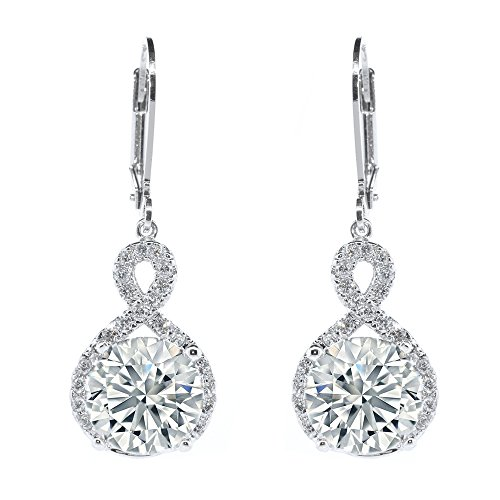Cate & Chloe Alessandra 18k White Gold Plated Infinity Halo Drop Earrings, Silver CZ Crystal Dangle Earrings Round Diamond Cubic Zirconia Earring Set Special-Occasion-Jewelry (White Gold)