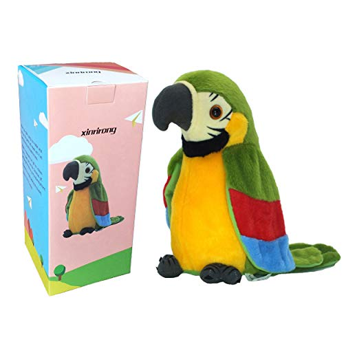 Talking Parrot No Matter What You Say Will Repeat What You Say Funny Learning Good Helper Bring You Happiness!Parrot Toys! Speaking Parrot.Talking Bird.Multifunctional Electric Plush Parrot Speaking
