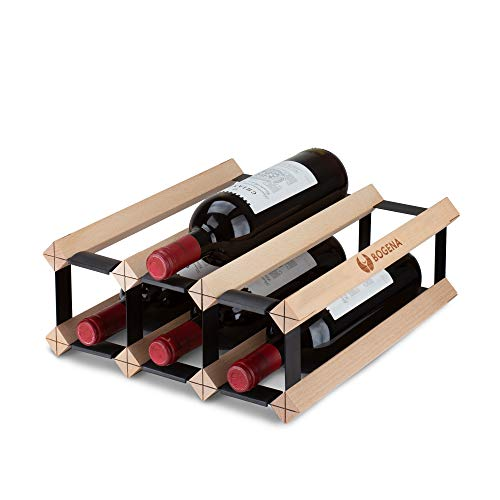 BOGENA® Cantinetta in legno – design unico – disponibile in 3 varianti – stabile, durevole e moderno – Elegante portabottiglie per la vostra collezione di vino di casa (6 bottiglie)