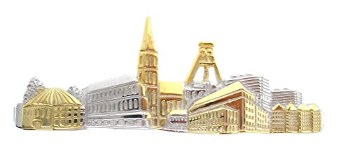 Unbekannt Bochum Krawattenklammer Krawattennadel - Skyline Stadt Bochum Bicolor inkl. brauner Geschenkbox