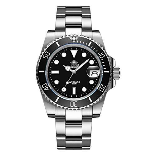 ADDIESDIVE Herren-Armbanduhr, wasserdicht, automatisch, 200 MTS, leuchtend, NH35A, Edelstahl-Armband