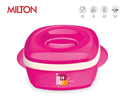 Milton Milano Insulated Hot Pot/Casserole/Serving Bowl with Lid Stainless Steel Inner - Keep food Hot/Cold up to 4-6 hrs (1000ml, Pink)