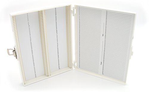 Heathrow Scientific HD15994R White Foam Lined 100 Place Microscope Slide Box, 8.25' Length x 7' Width x 1.3' Height