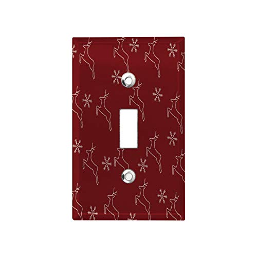 Stainless Steel Outlet and Switch Cover-Christmas Reindeer Silhouette Wine Red Standard Size Toggle Metal Wall Switch Plate