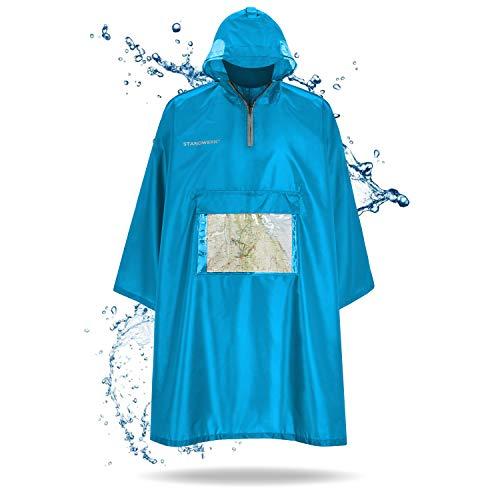 STANDWERK® Regenponcho - Mit Ärmeln und Brusttasche für Damen und Herren, Brusttasche für Handy, Reflektoren, seitliche Fenster