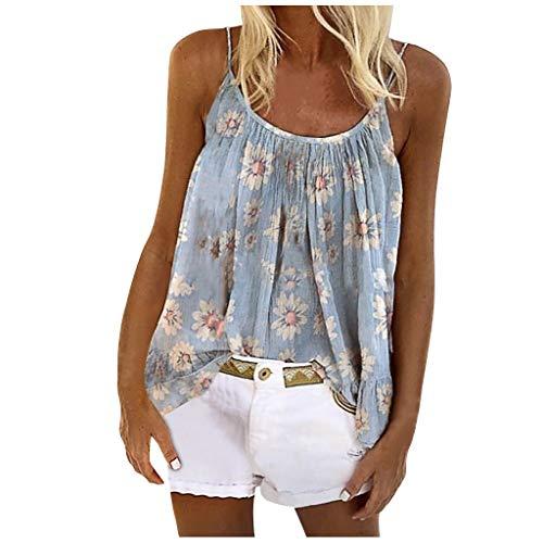 ZWQJYH Blusa sin mangas para mujer, talla grande, con estampado degradado, blusa y top para mujer, blusa de...