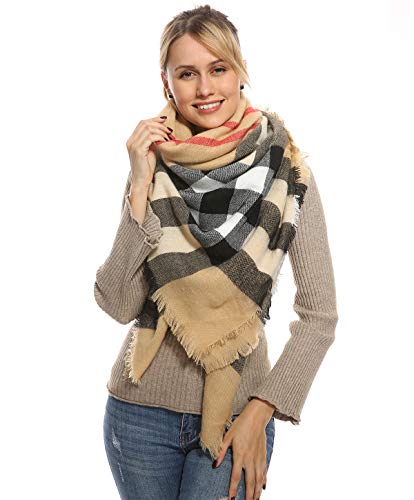 Women Plaid Blanket Scarf for Winter Fall – Camel Oversized Large Big Scarves Soft Warm Tartan Fuzzy Knit Cashmere Feel Travel Wraps and Shawls for Christmas Gift Fashion Accessories