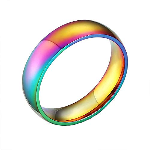 YOUYUZU Itanium Stainless Steel Gay Lesbian LGBT Pride Rainbow Rings True Love Wedding Engagement Promise Band Rings Jewelry
