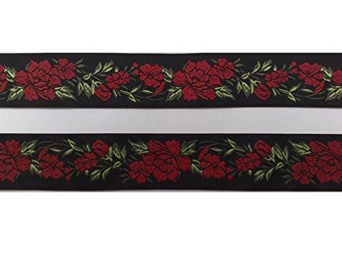 2 m Borte Rosenranken Blumen Tracht Landhaus Dirndl Wiesn 35 mm breit Farbe: schwarz-rot