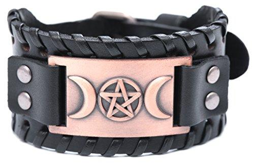 VASSAGO Vintage Metal Amulet Cuff Leather Bracelet 1
