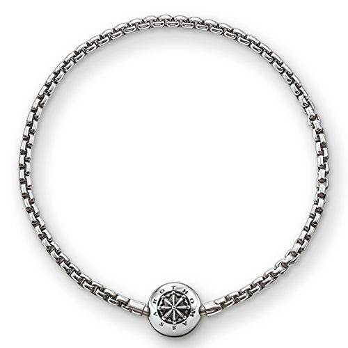 Thomas Sabo Damen Herren-Armband Karma Beads 925 Sterling Silber geschwärzt Länge 21 cm KA0002-001-12-L22