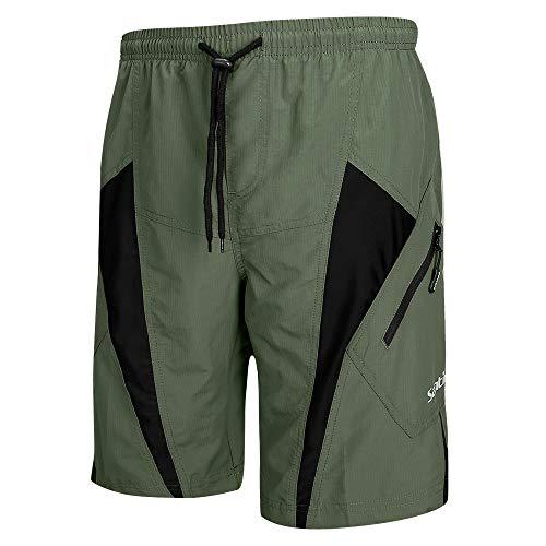 Santic Men's Bike Shorts Padded Bicycle Cycling MTB Shorts Loose-Fit 4D Padding Olive Green
