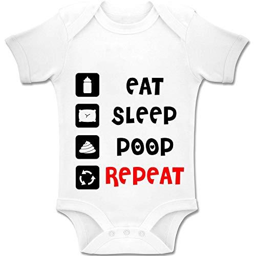Acen Merchandise Eat Sleep Poop Repeat - Baby Bodys/Strampler Romper Onesie Unisex 100% Baumwolle (0-24 Monate) (3-6 Monate)