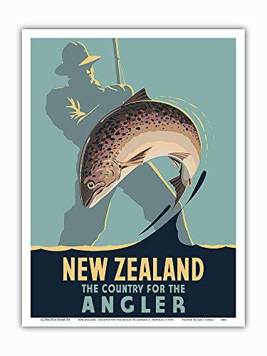 Pacifica Island Art Nueva Zelanda - El país del Pescador - Pesca con Mosca - Póster Viajes de Leonard C. Mitchell c.1950 - Impresión de Arte 23x31cm