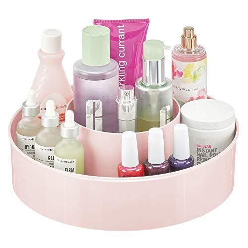 mDesign Plastic Lazy Susan Round Turntable Storage Tray - Rotating Organizer for Makeup, Cosmetics, Nail Polish, Vitamins, Shaving Kits, Hair Spray, Medical Supplies, First Aid - Light Pink/Blush