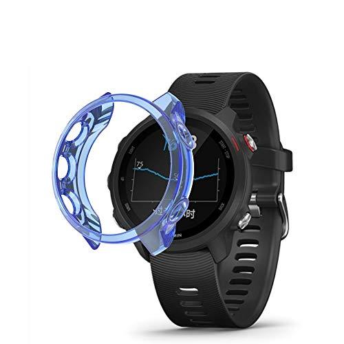 Bcyhls para Garmin Forerunner 245 TPU Caso de Reloj translúcido smartwatch Protective (Color : Blue)