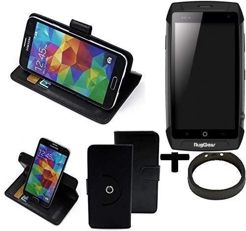 K-S-Trade® Case Schutz Hülle Für -Ruggear RG730- + Bumper Handyhülle Flipcase Smartphone Cover Handy Schutz Tasche Walletcase Schwarz (1x)