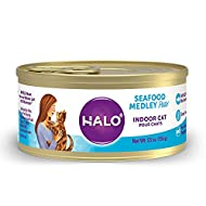 Halo Cat Food, Indoor Wet Cat Food, Grain Free, Seafood Medley 5.5oz Can (Pack of 12)