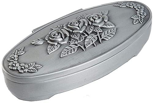 YXLM Caja de joyería de aleación de zinc larga tallada clásica europea tallada rosa ovalada pequeños adornos (tamaño: 14 x 7,5 x 5,5 cm), plata