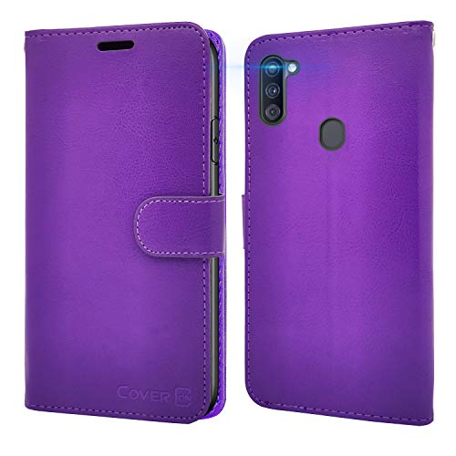 CoverON Wallet Pouch for Samsung Galaxy A11 Case and Screen Protector, RFID Blocking Flip Folio Stand Leather Phone Cover - Purple