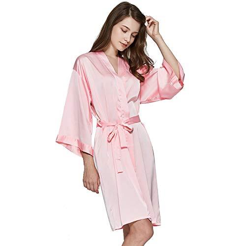 TBATM Pijama De Mujer Camisón Boda Novia Dama De Honor Bordado Impreso Sexy Albornoz Ropa De Dormir Suave Ropa De Salón Satinado Fino Ropa De Casa,Solid Color h,M
