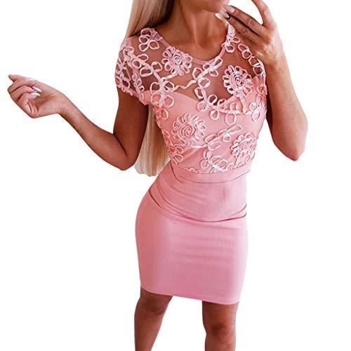Luotuo Damen Spitze Minikleid Kurzarm Rückenfrei Kurz Bodycon Kleider Pencil Kleid Solide Transparent Abend Brautkleid Cocktail Ballkleid