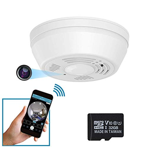 Dummy Smoke Detector 32Gb Included WiFi Motion Detection Hidden Surveillance Camera NuCam SD w. 180 Days Standby Battery & Double Sided Stickers Night Vision Top View Nanny Covert Camera Home Security