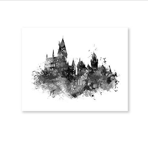 yhnjikl Acuarela Castillo de Hogwarts Arte Lienzo Pintura Cuadro en la Pared, Harry Potter Película Impresiones en Lienzo Cartel de Hogwarts Kids Room Decor 40X60Cm Sin Marco
