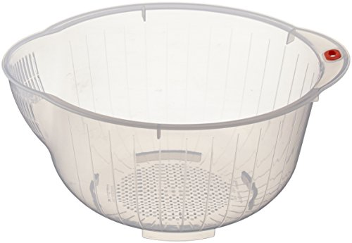 Inomata Japanese Rice Washing Bowl with Side and Bottom Drainers, Clear
