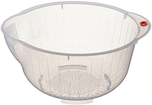 Inomata Japanische Reiswaschschüssel mit Abtropfflächen an den Seiten und unten, transparent