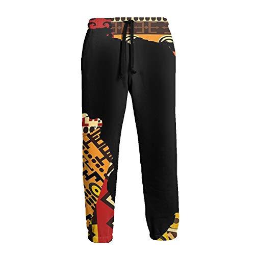 Pantalones de chándal Estilo Africano Abstracto con Mapa Africano sobre Pantalones de Correr étnicos, Casuales, para Hombre Negro Blanco 3XL