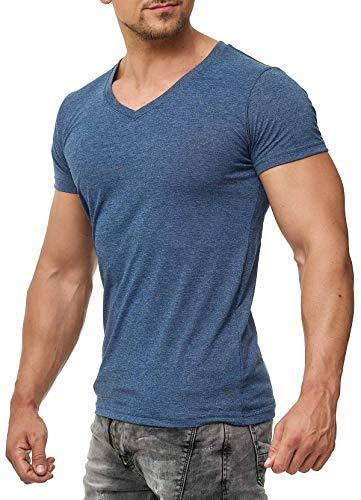 Happy Clothing Herren T-Shirt V-Ausschnitt Meliert Comfort Bügelfrei, Größe:M, Farbe:Dunkelblau