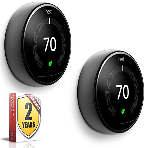 Nest Learning Thermostat (3rd Generation, Mirror Black) 2 Pack Delaware