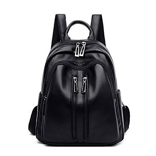 Schwarzer Lederrucksack Frauen schwarzer eleganter Rucksack Frauen wasserdichte Tasche Diebstahlsack Rucksack Rucksack