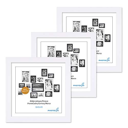 PHOTOLINI 3er Set Bilderrahmen 15x15 cm Modern Weiss aus MDF mit Acrylglas/Portraitrahmen/Wechselrahmen