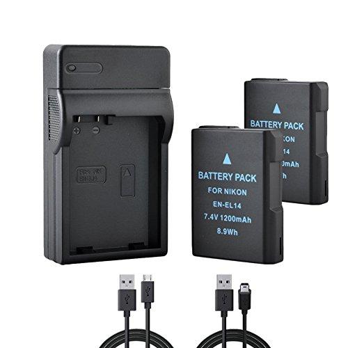 BPS 2X EN-EL14 EN-EL14a Baterías + USB Cargador de Batería para Nikon D3100 D3200 D3300 D5100 D5200 D5300 D5500 D3S, Coolpix P7000 P7100 P7700 P7800 DSLR Cámara, Nikon Cargador de Baterías MH-24